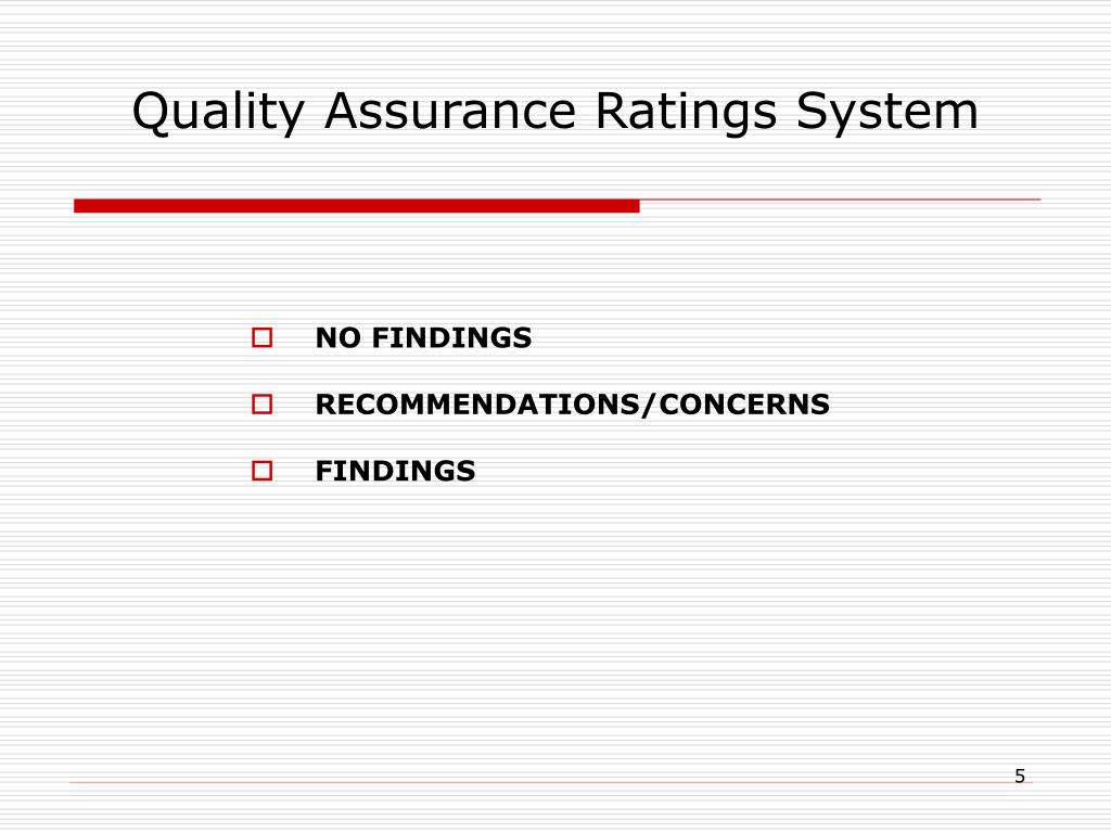 Quality Assurance Ratings System