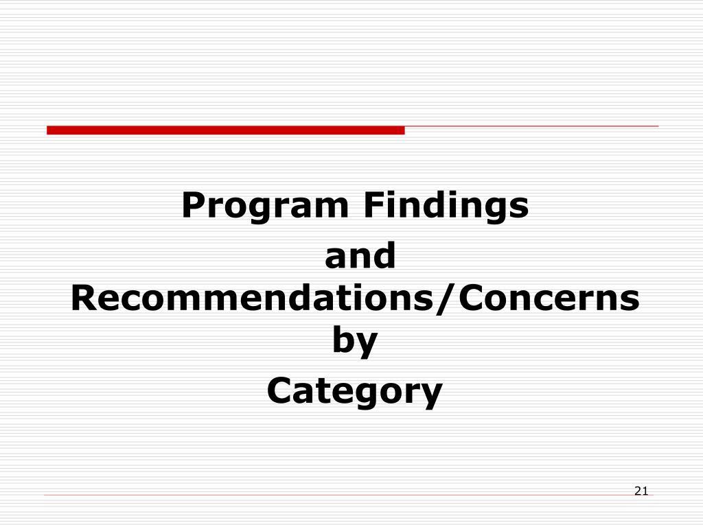 Program Findings