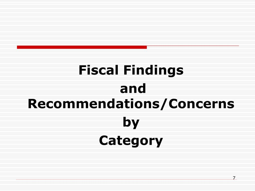 Fiscal Findings