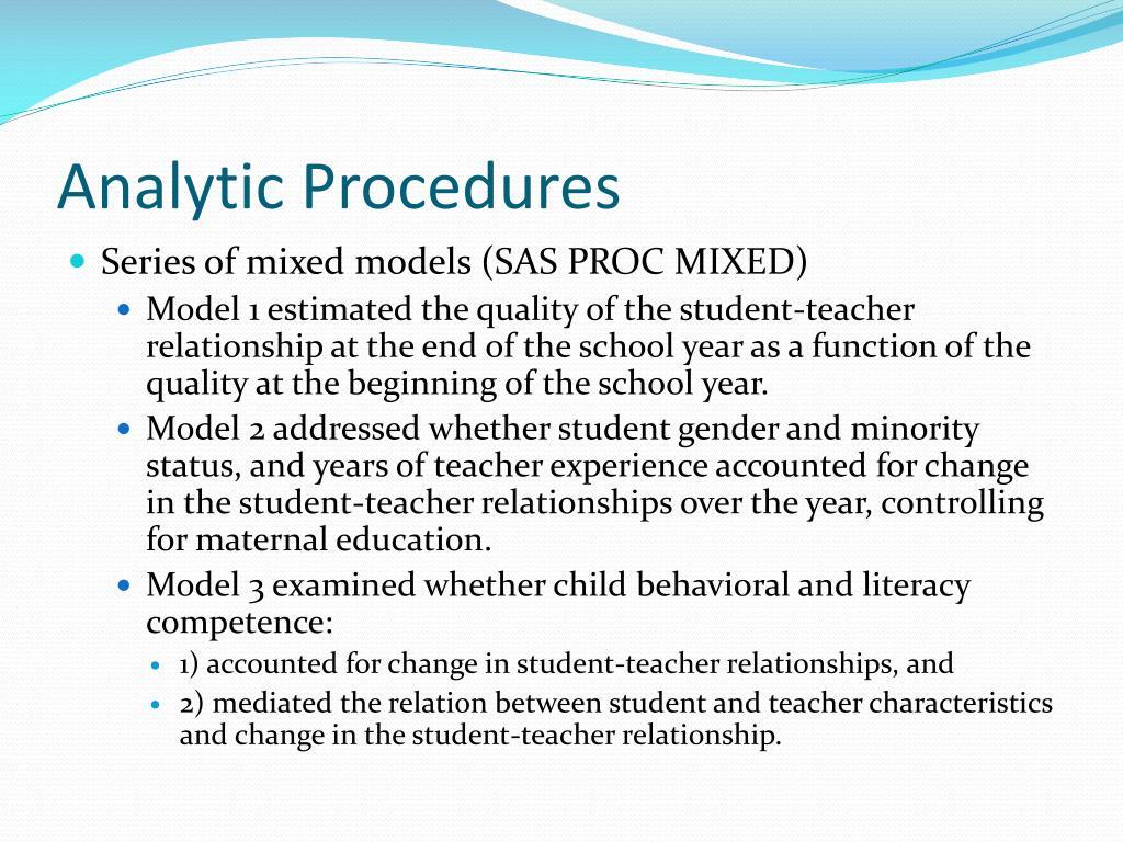 Analytic Procedures