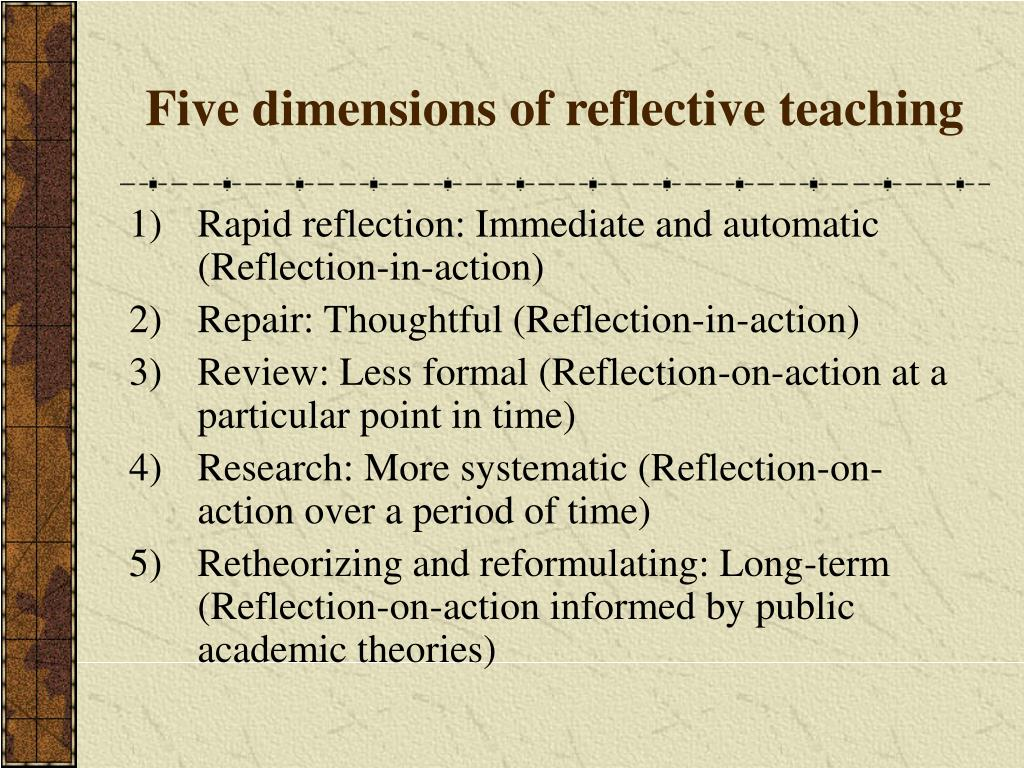 Five dimensions of reflective teaching