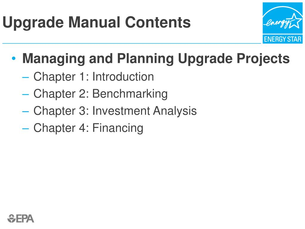 Upgrade Manual Contents