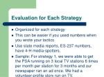 evaluation for each strategy