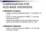 compensation for acid base disorders