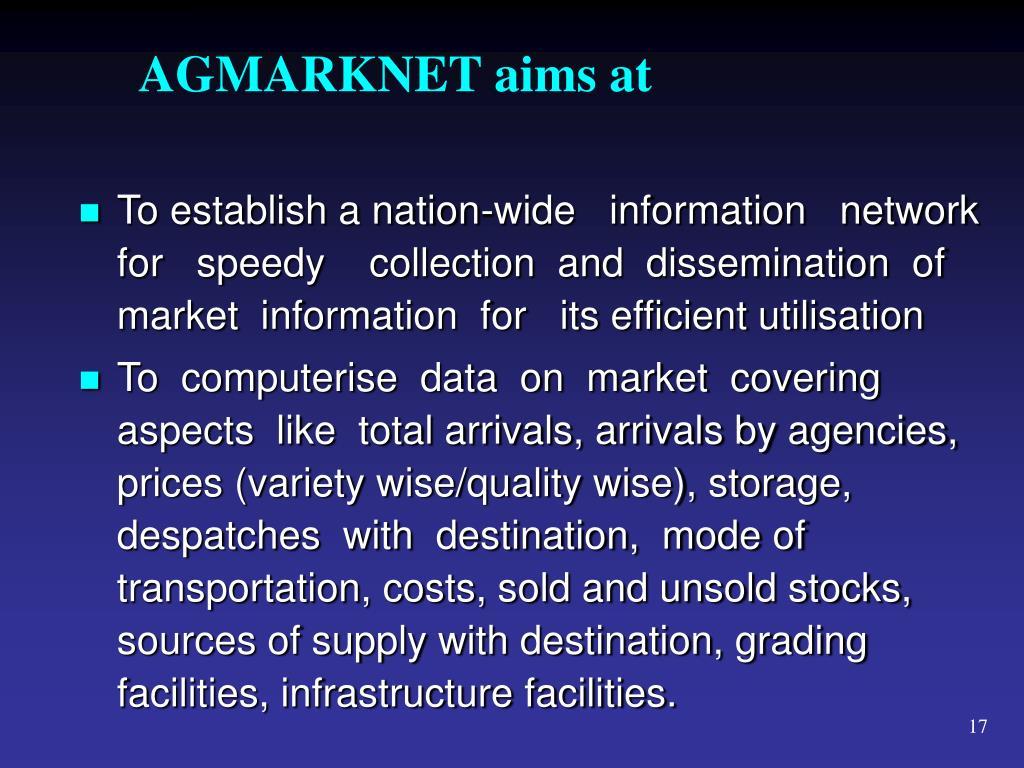 AGMARKNET aims at