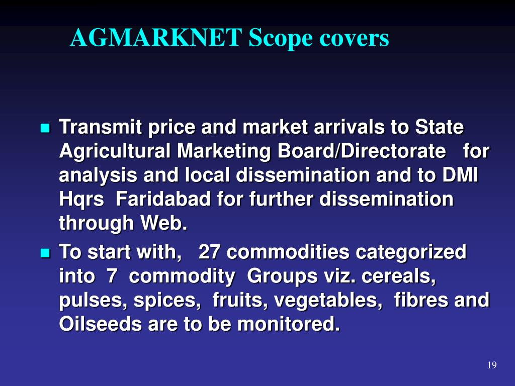 AGMARKNET Scope covers