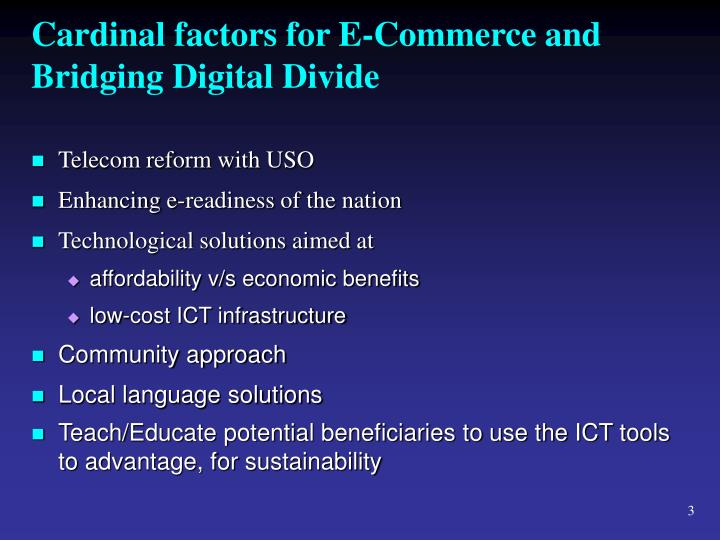 Cardinal factors for e commerce and bridging digital divide