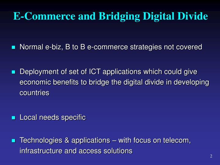 E commerce and bridging digital divide