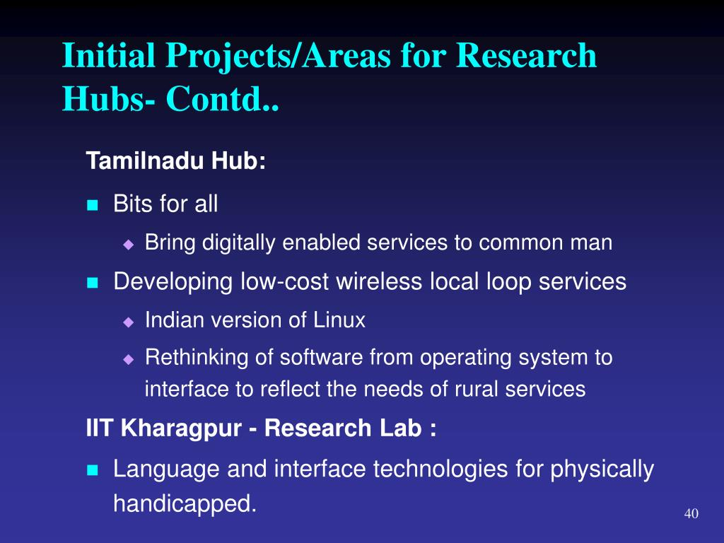 Initial Projects/Areas for Research Hubs- Contd..