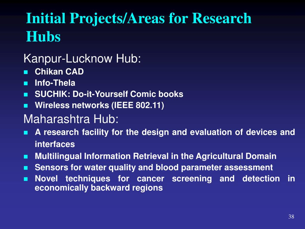 Initial Projects/Areas for Research Hubs