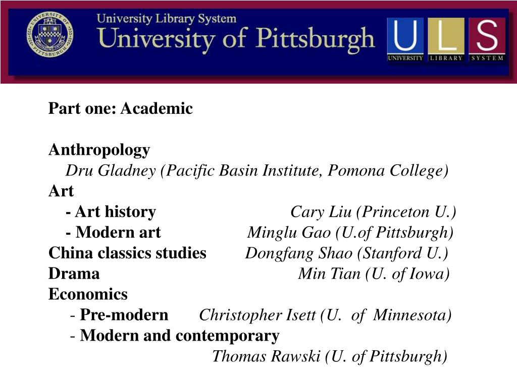 Part one: Academic