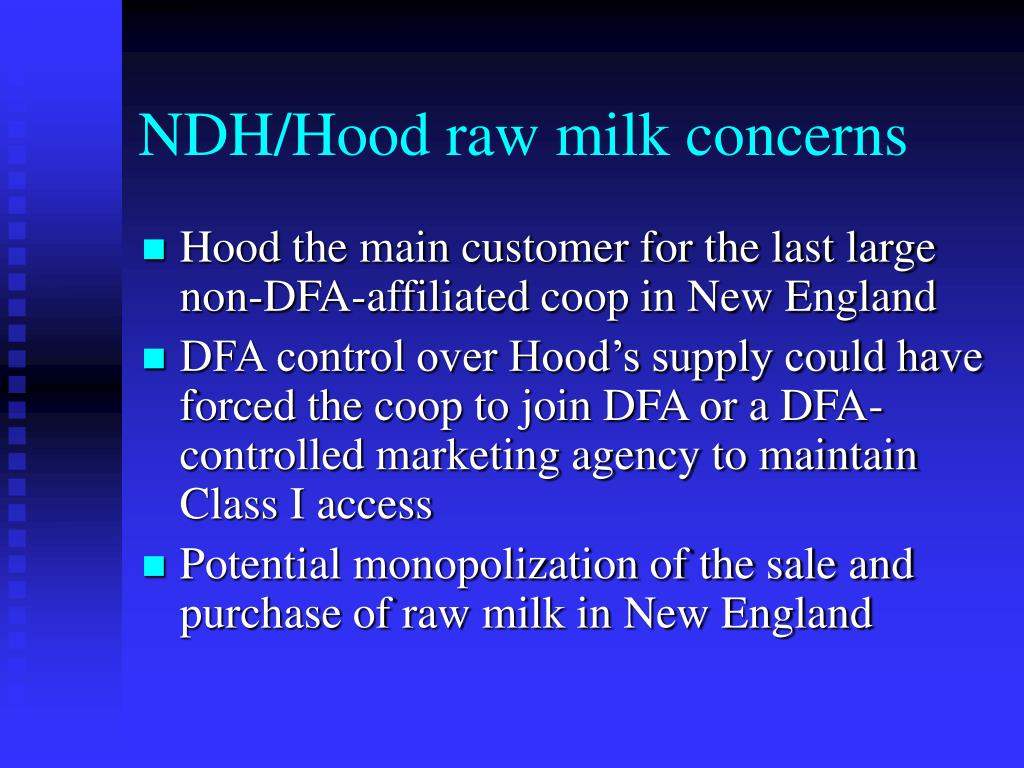 NDH/Hood raw milk concerns