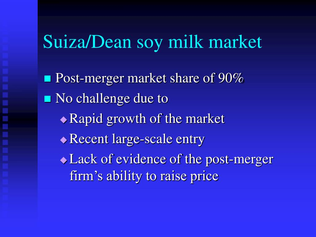 Suiza/Dean soy milk market
