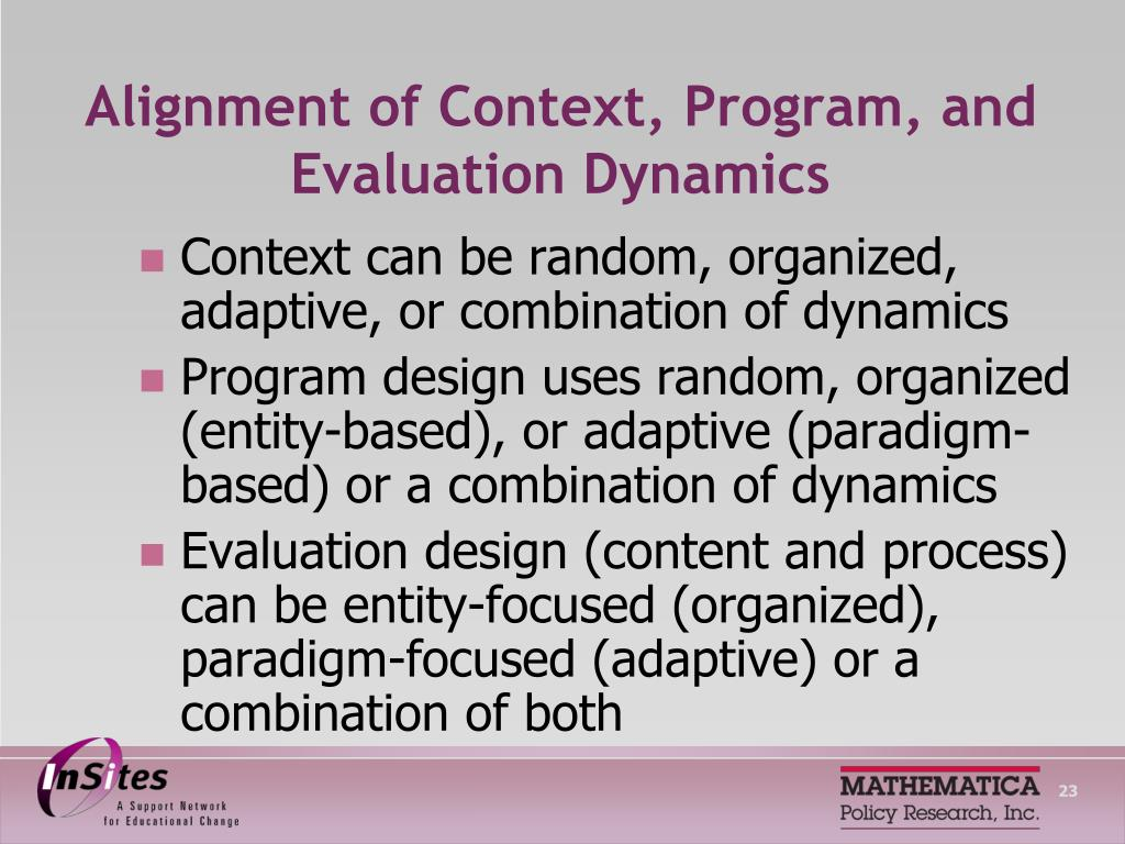 Alignment of Context, Program, and Evaluation Dynamics