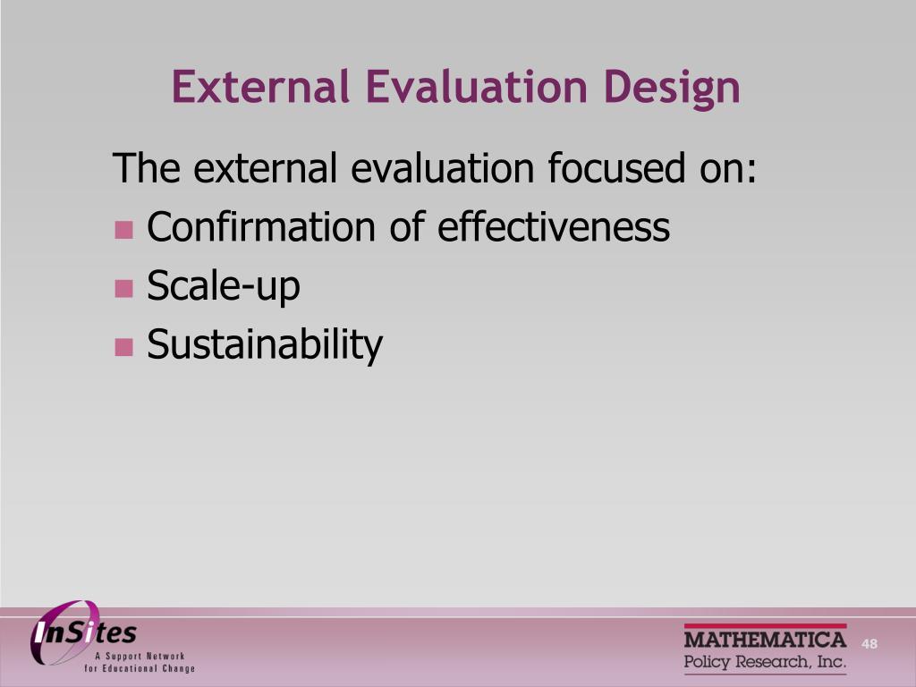 External Evaluation Design