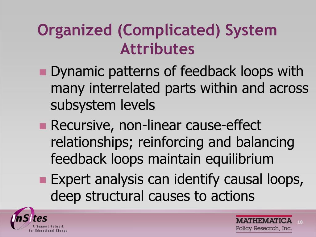 Organized (Complicated) System Attributes