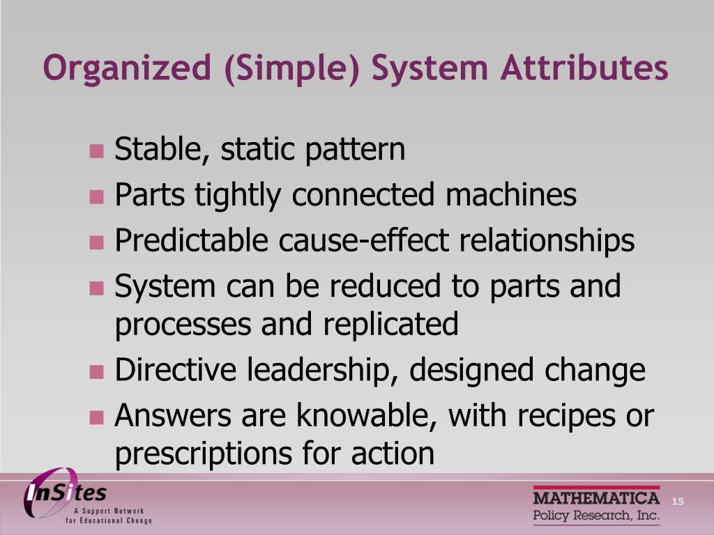 Organized (Simple) System Attributes