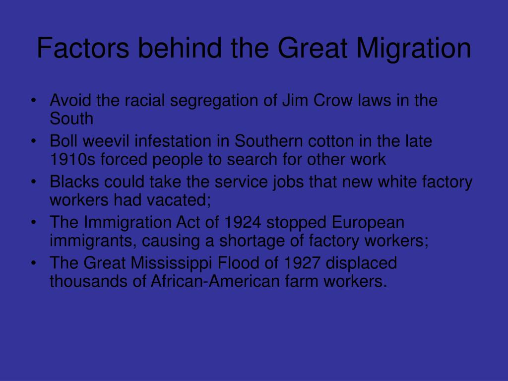 Factors behind the Great Migration
