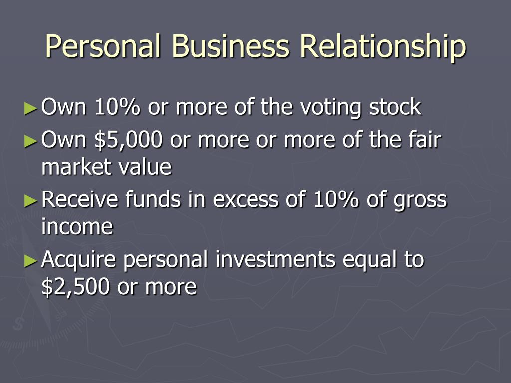 Personal Business Relationship