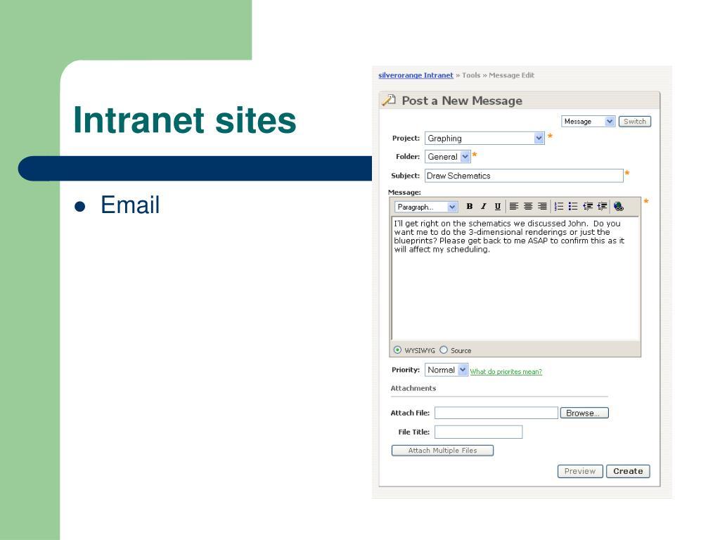 Intranet sites