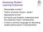 assessing student learning outcomes26