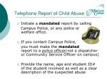 telephone report of child abuse