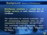 background volume of remittances