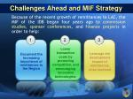 challenges ahead and mif strategy