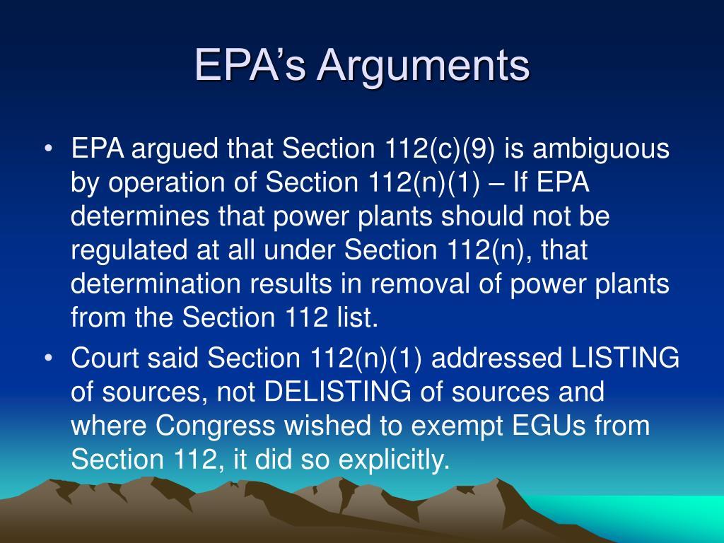 EPA's Arguments