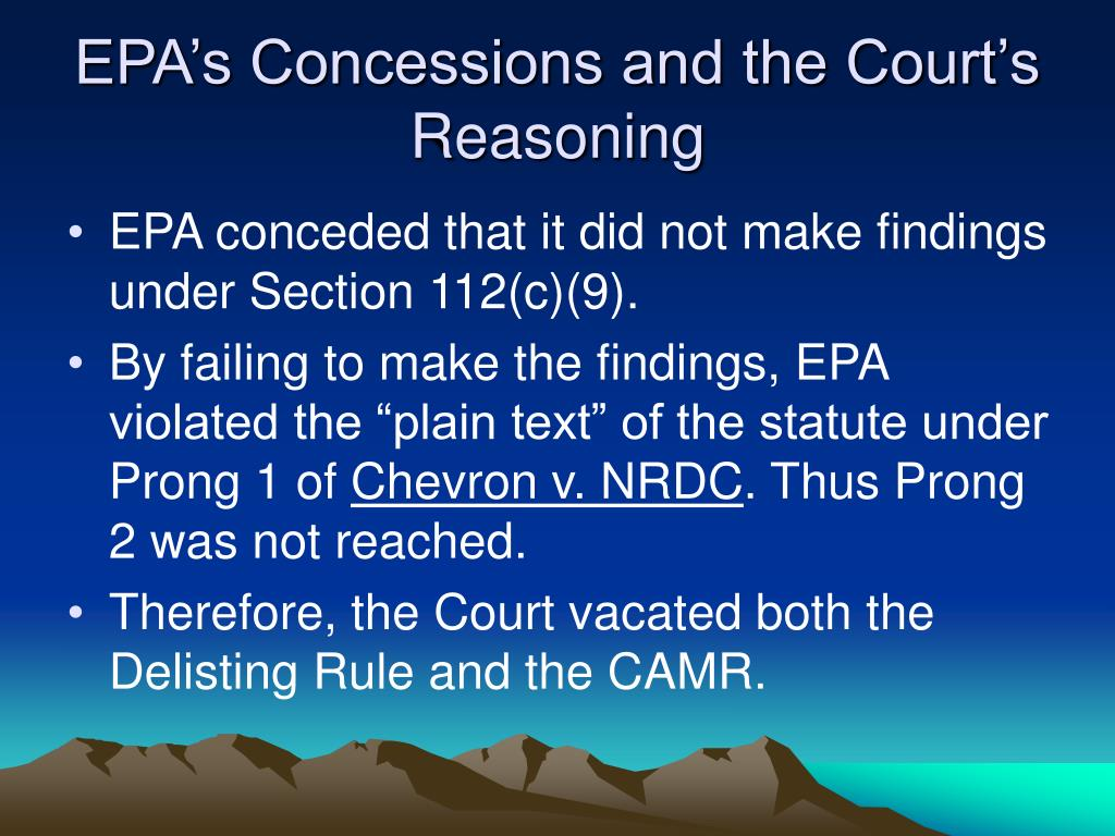 EPA's Concessions and the Court's Reasoning