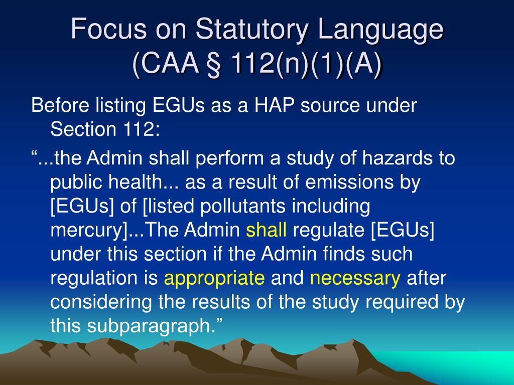 Focus on Statutory Language
