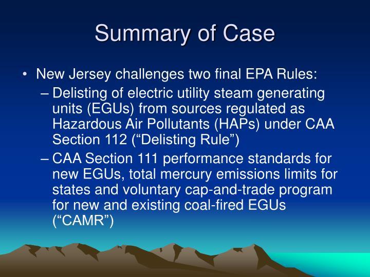 Summary of case