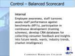 control balanced scorecard