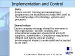 implementation and control37
