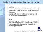 strategic management of marketing mix