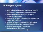 it budget cycle