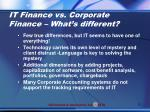 it finance vs corporate finance what s different