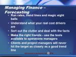 managing finance forecasting