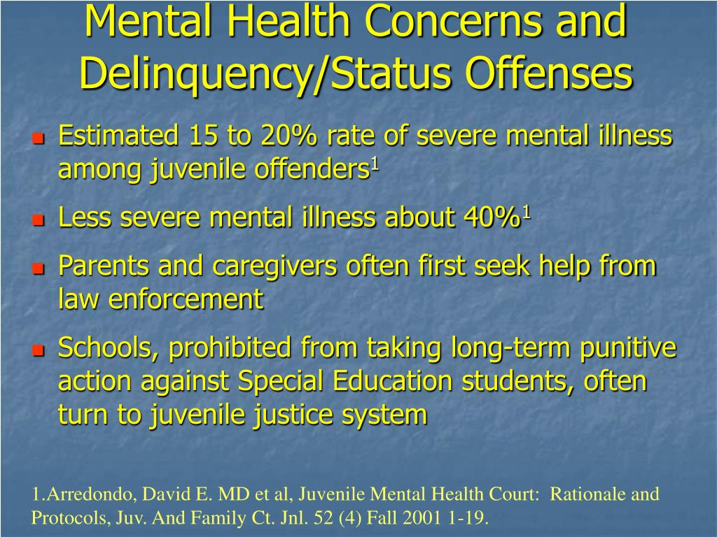 Mental Health Concerns and Delinquency/Status Offenses
