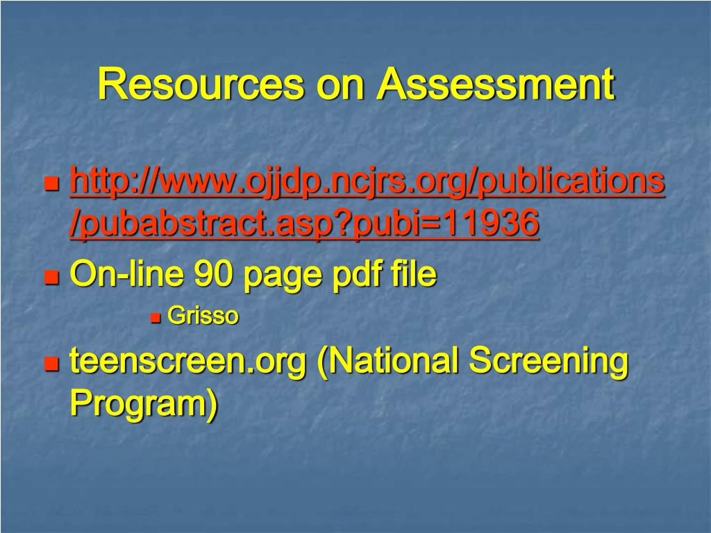 Resources on Assessment