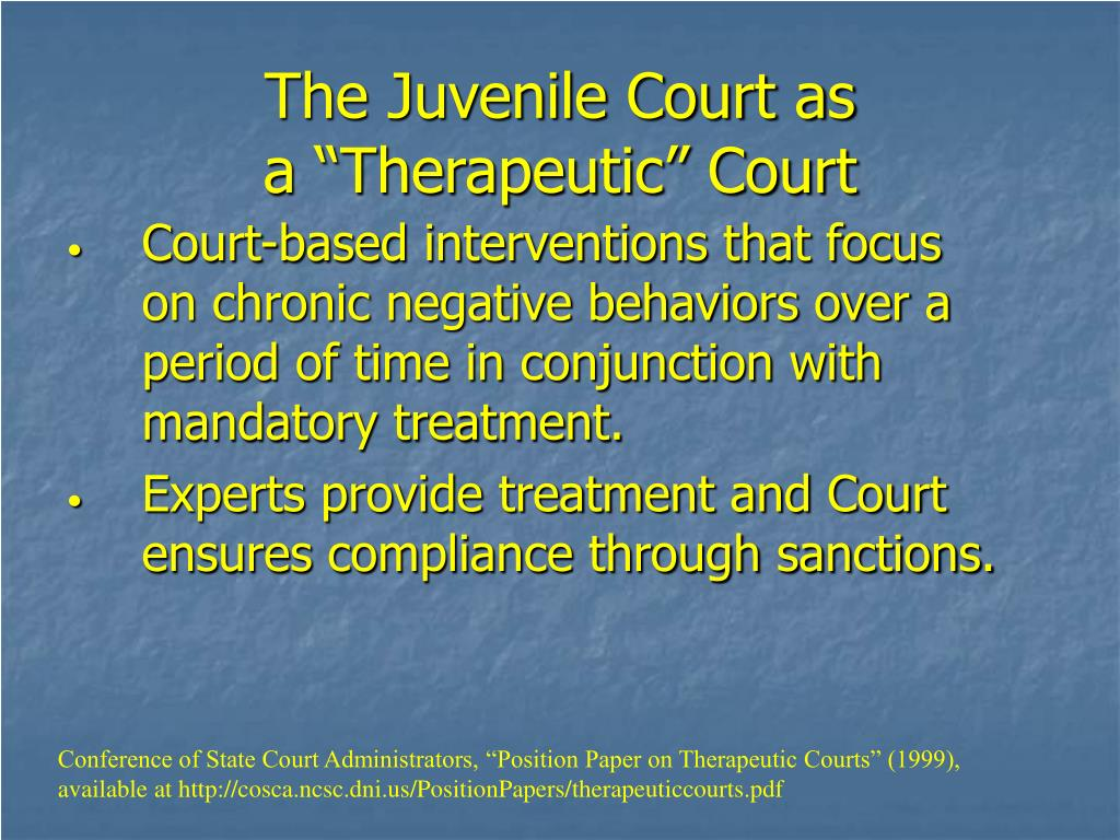Court-based interventions that focus on chronic negative behaviors over a period of time in conjunction with mandatory treatment.