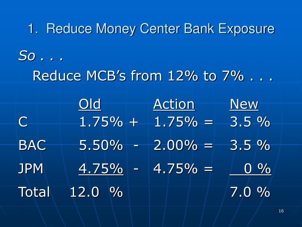1.  Reduce Money Center Bank Exposure