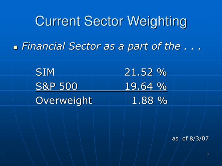 Current sector weighting
