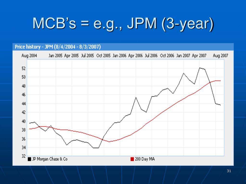MCB's = e.g., JPM (3-year)