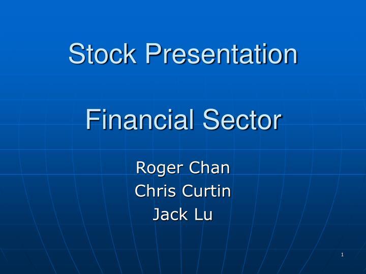 Stock presentation financial sector