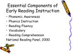 essential components of early reading instruction