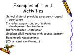 examples of tier 1 activities