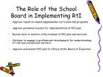 the role of the school board in implementing rti