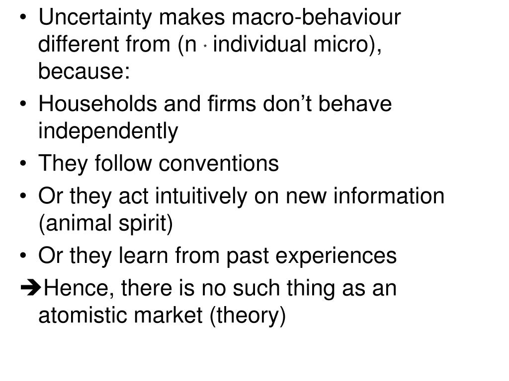 Uncertainty makes macro-behaviour different from (n