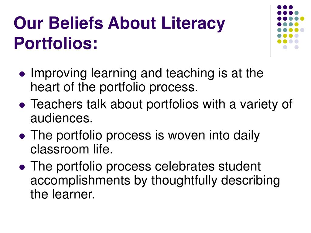 Our Beliefs About Literacy Portfolios:
